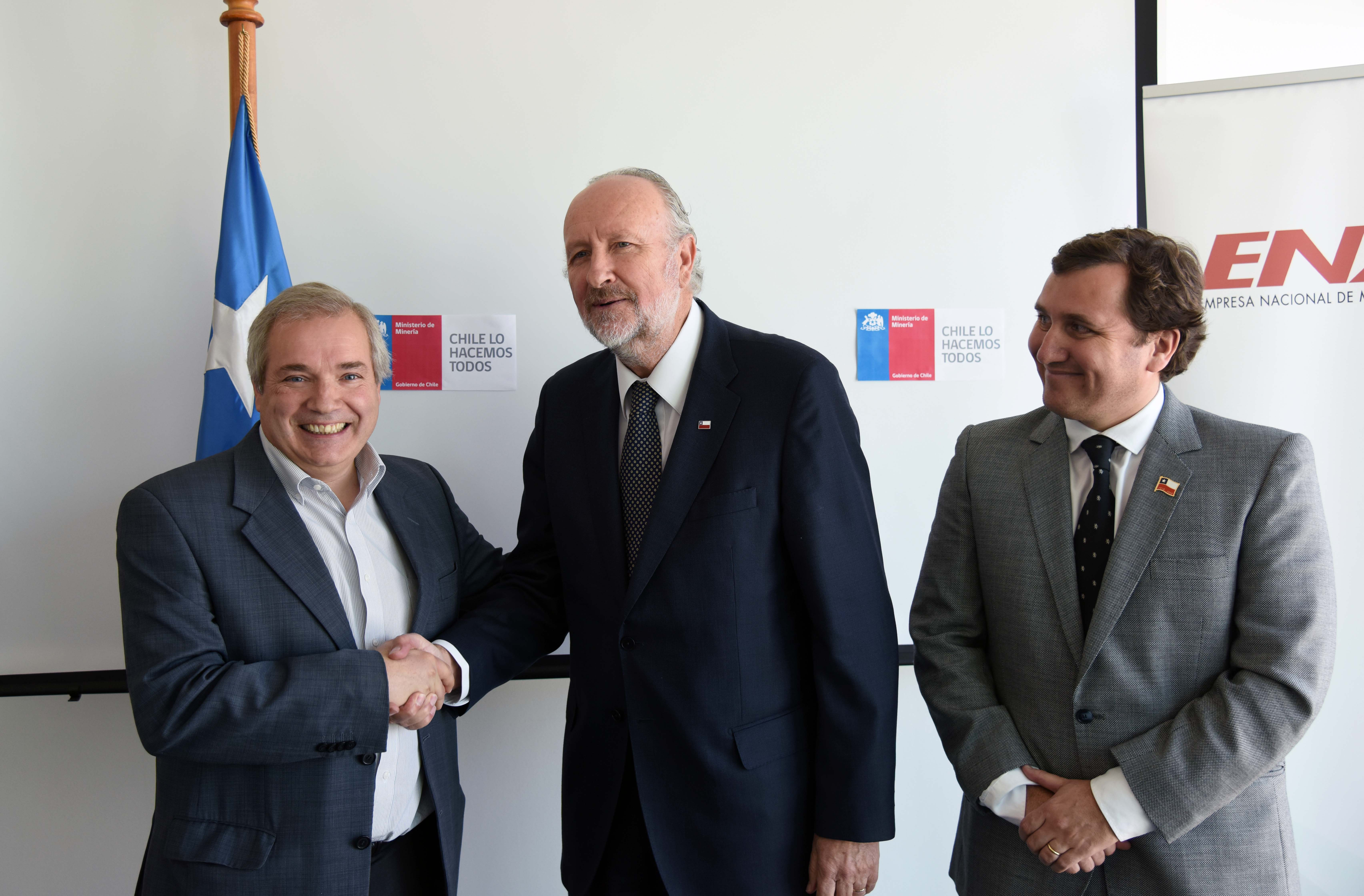 Ministro Baldo Prokurica y subsecretario Pablo Terrazas anuncian a André Sougarret como vicepresidente Ejecutivo de Enami _