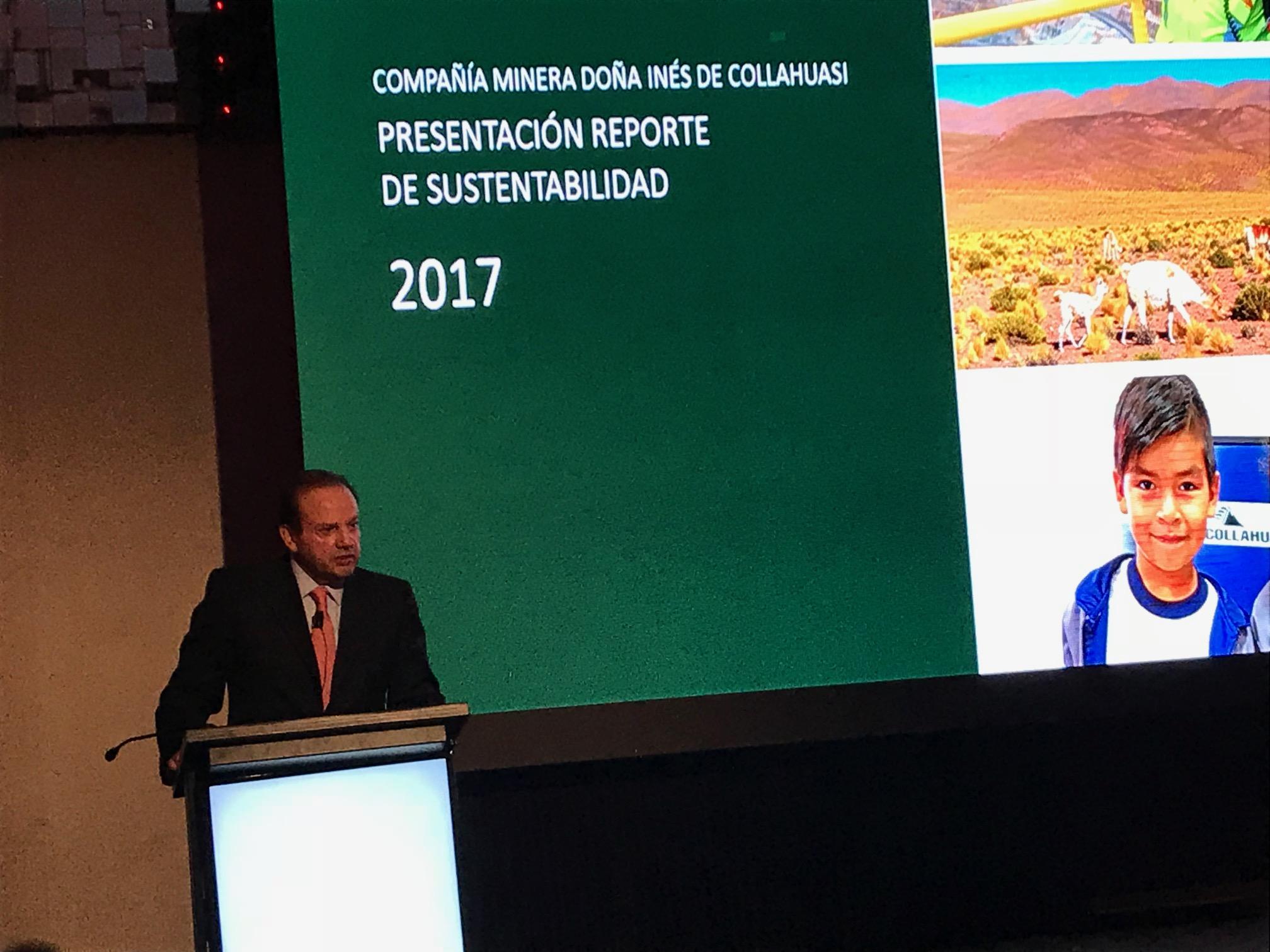 Jorge Gómez en la entrega del reporte de sustentabilidad de Collahuasi