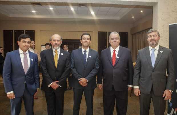 Cristián Solís, Editec; Francisco Martin, AIC; Iván Rayo, JRI; Pedro Inojosa, pass president AIC; Felipe Zelada, AIC.