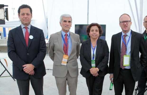 Joaquín Villarino, presidente ejecutivo Consejo Minero; Fernando Cortez, gerente general AIA; Aurora Williams, ministra de Minería; Mauro Valdés, presidente Programa Nacional de Minería.