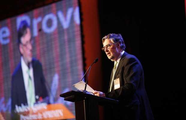 Andrés Aguirre durante su discurso.