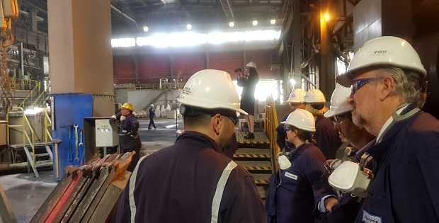 Visita a fundición de Aurubis en Pirdop,Bulgaria. Foto: Gentileza Ministerio de Minería.
