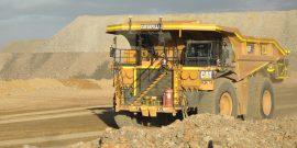 Cat 793F autonomous mining trucks working